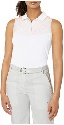 Puma Verticals Sleeveless Polo (Bright White) Women's Clothing