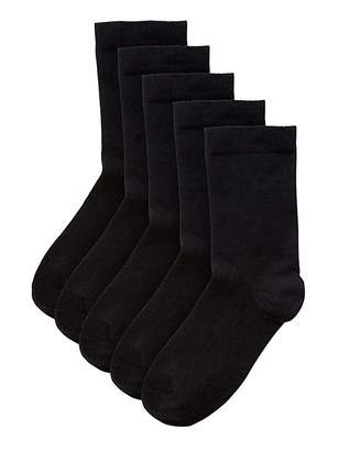 Pretty Secrets 5 Pack Value Ankle Socks- Wide Fit