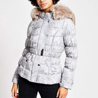 River Island Grey camo jacquard belted padded jacket