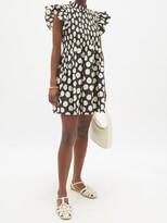 Thumbnail for your product : Sea Arline Smocked Polka-dot Cotton-poplin Mini Dress - Black Multi