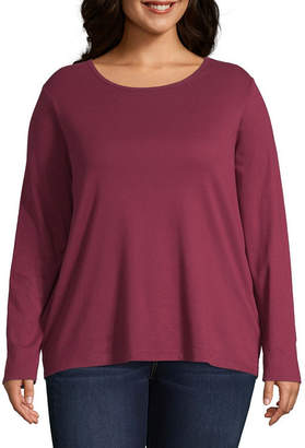 Liz Claiborne Long Sleeve Crew Neck Tee - Plus