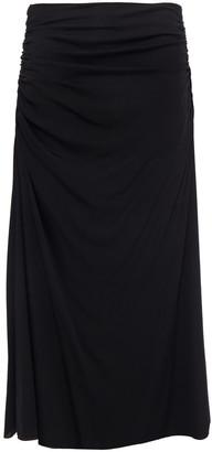 Theory Ruched Stretch-silk Midi Skirt