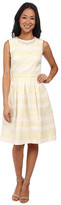 Maggy London Jacquard Faille Stripe Fit & Flare Dress w/ Pearl Detail