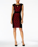 Connected Petite Velvet Lace-Inset Sheath Dress