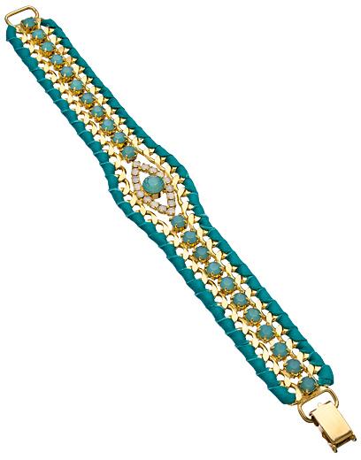 Sara Designs Gold Turquoise and Moonstone Evil Eye Bracelet