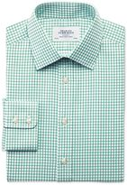 Extra Slim Fit Twill Grid Check Green Cotton Formal Shirt Single Cuff Size 15/35 By Charles Tyrwhitt