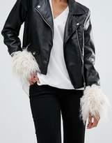 Asos Short Shaggy Faux Fur Cuffs