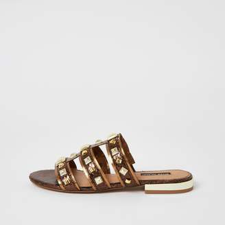 River Island Womens Brown metallic studded caged sandals