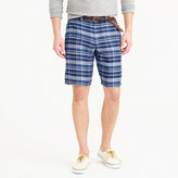"J.Crew 10.5"" short in indigo plaid Irish linen"