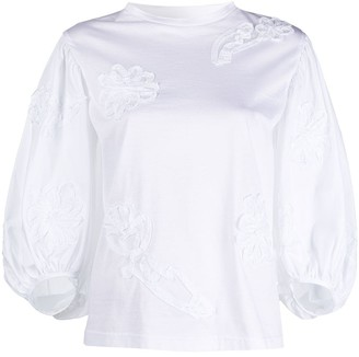 Cecilie Bahnsen Embroidered Detail Puff Sleeve Top