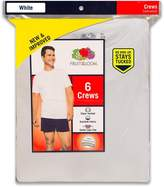 Fruit of the Loom Mens 6Pack White Crew-Neck Undershirts Cotton T-Shirts, S
