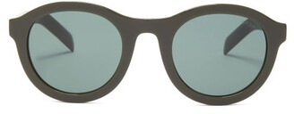 Prada Round Acetate Sunglasses - Womens - Green