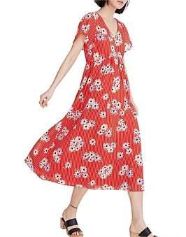 Madewell V-Neck Flutter Sleeve Midi Dress-Print