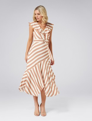 Forever New Blair Stripe Dress - Rust Stripe - 4