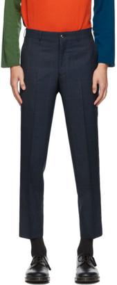 Comme des Garçons Homme Deux Navy Wool Windowpane Trousers