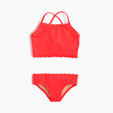 J.Crew Girls' scalloped tankini set in neon