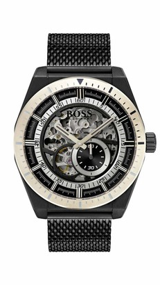 HUGO BOSS Mens Skeleton Automatic Watch with Stainless Steel Strap 1513655