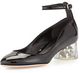 Alexander McQueen Patent Ankle-Wrap Skull Pump, Black