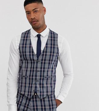 Asos Design DESIGN Tall wedding skinny suit waistcoat in navy tartan check
