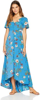 Oasis Wild Beachwear Women's Short Sleeves Floral Printed Maxi Dress with Button Detailing & Slit X-Small Blue