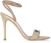 Giuseppe Zanotti Beige Suede and Leather High Heel Sandal w/Crystal