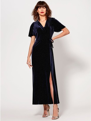 M&Co Velvet stud embellished maxi dress