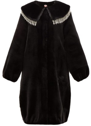 Shrimps Weston Crystal-embellished Faux-fur Coat - Womens - Black