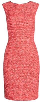 St. John Marled Space Dyed Tweed Knit Sheath Dress