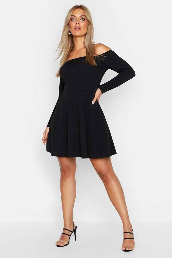 boohoo Plus Long Sleeve Off The Shoulder Skater Dress