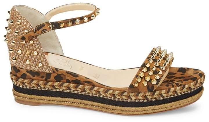 Leopard Wedge Platform Leather Print Sandals Madmonica N8n0Ovwm