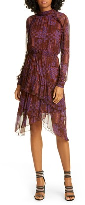 BA&SH Macha Geo Print Long Sleeve Tiered Handkerchief Hem Dress