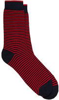 Barneys New York Men's Fine-Striped Cotton-Blend Mid-Calf Socks-RED