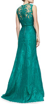 Elie Saab Sleeveless Paisley-Lace Gown