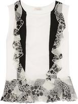 Giambattista Valli Silk georgette-paneled cotton-jersey top