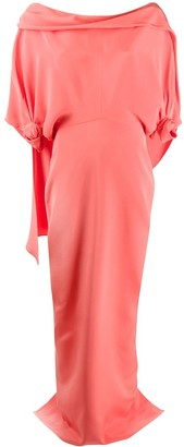 Hellessy Off-Shoulder Cape-Detail Evening Dress