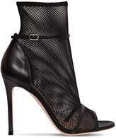 Gianvito Rossi 100mm Stretch Mesh & Leather Ankle Boots