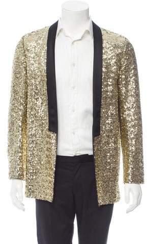 Saint Laurent Sequined Shawl Collar Blazer