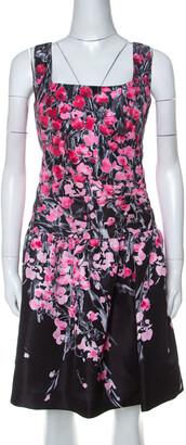 RED Valentino Black Floral Print Taffeta Pleated Waist Short Dress L