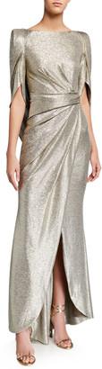 Talbot Runhof Laminated Jersey Mid-Sleeve Gown