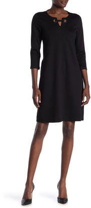 Nina Leonard 3/4 Length Sleeve High/Low Hem Dress