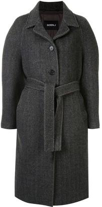 GOEN.J Herringbone Pattern Single-Breasted Coat