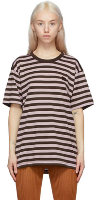 Acne Studios Purple and Brown Striped Classic-Fit T-Shirt