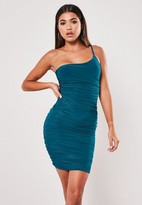 Missguided Teal Slinky Shine Ruched One Shoulder Mini Dress