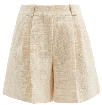 BLAZÉ MILANO Missy High-rise Cotton-blend Boucle Shorts - Cream