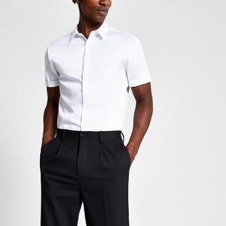 River Island White slim fit short sleeve premium shirt