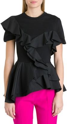Alexander McQueen Ruffle Jersey And Poplin T-shirt