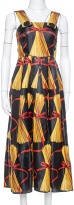 Dolce & Gabbana Black Spaghetti Printed Silk Organza Midi Dress M