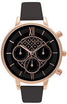 Olivia Burton OB15CG44 Women's Chrono Detail Chronograph Leather Strap Watch, Black/Rose Gold