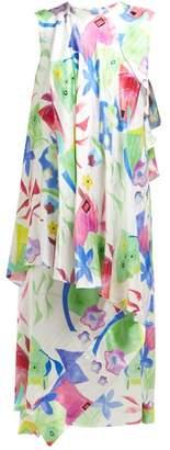 Balenciaga Draped Watercolour-print Silk-satin Dress - Womens - White Multi