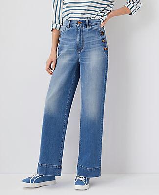 Ann Taylor Button Pocket High Rise Trouser Jeans In Light Indigo Wash
